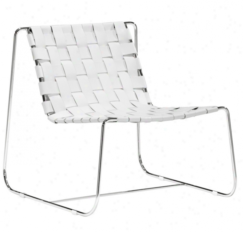 Zuo Prospect Park White Leather Lounge Chair (v7742)