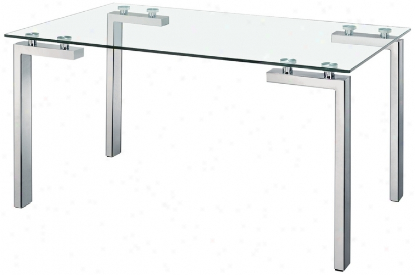 Zuo Roca Stainless Carburet of iron And Glass Dining Table (v9229)
