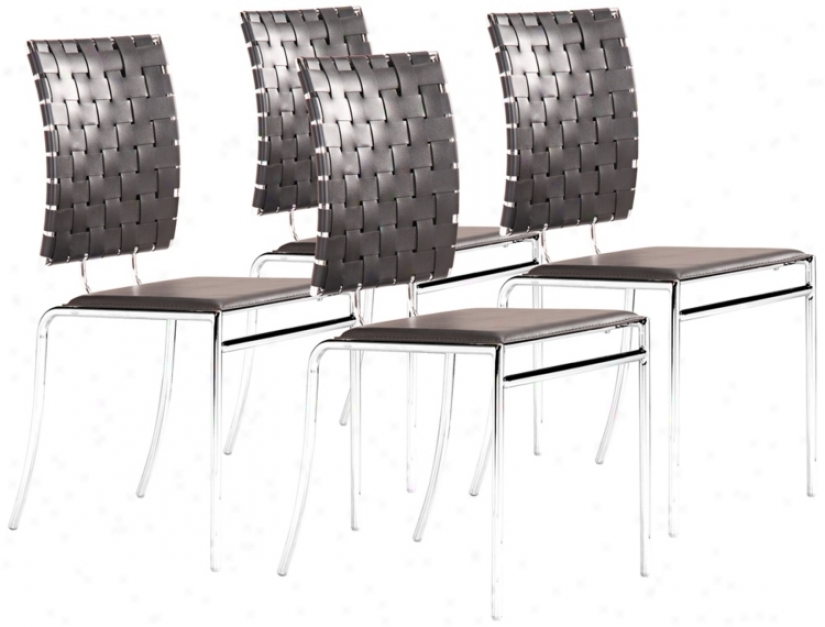 Zuo Set Of 4 Criss Cross Dining Black Chairs (t2548)