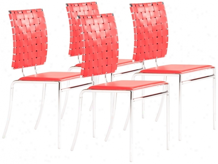 Zuo Set Of 4 Criss Cross Red Dining Chairs (t2551)