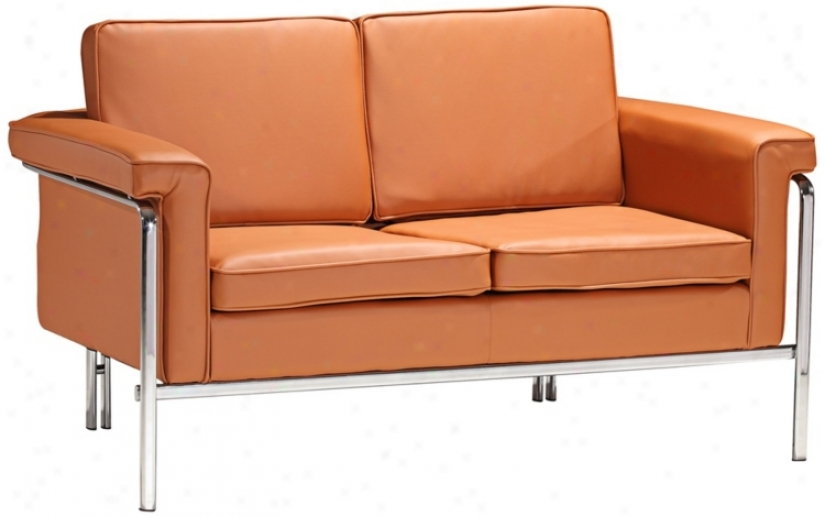 Zuo Singular Terracotta Leatherette And Chtome Have a passionate affection for Seat (v7671)