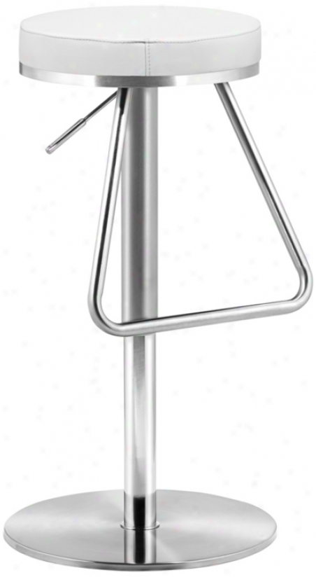 Zuo Soda White Adjustable Height Bar Or Counter Stool (t2527)