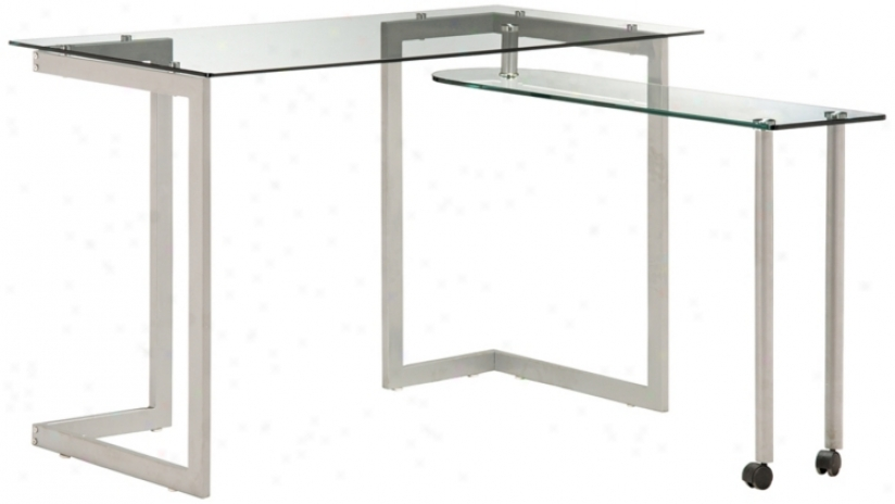 Zuo Thrower Tempered Glass Compact Desk (m7415)