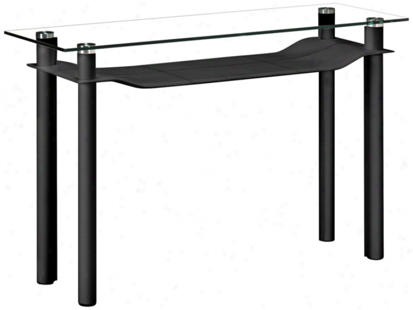 Zuo Tier Black Leatherette And Glass Console Table (v8389)