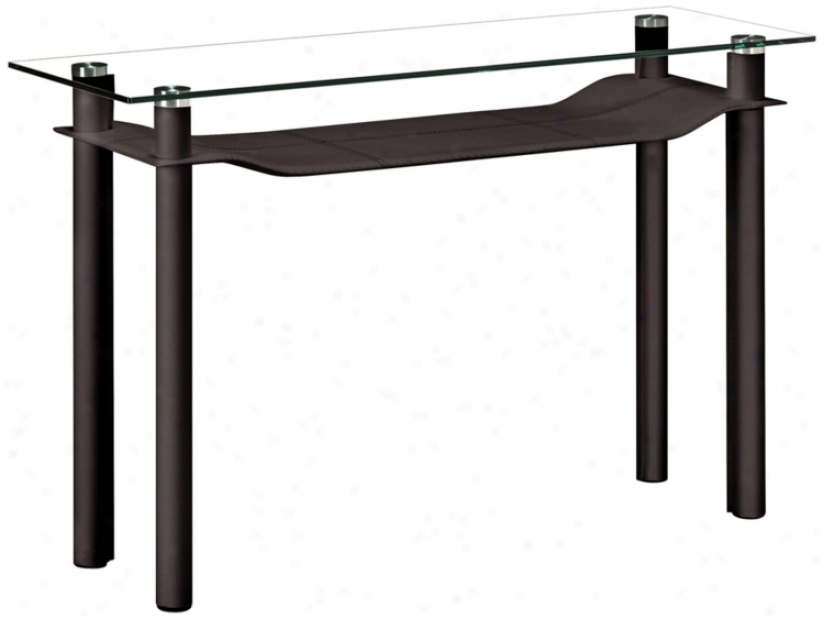 Zuo TierE spresso Leatherette And Glass Console Table (v8391)