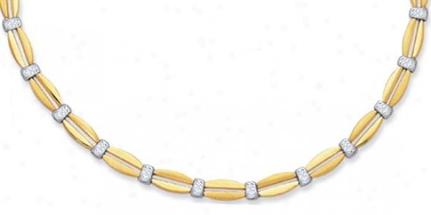 10k Two-tone Diamond Accented Necklace - 17 Inch