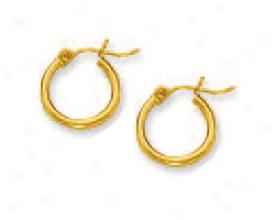 10k Yellow 2 Mm Hoop Earrings