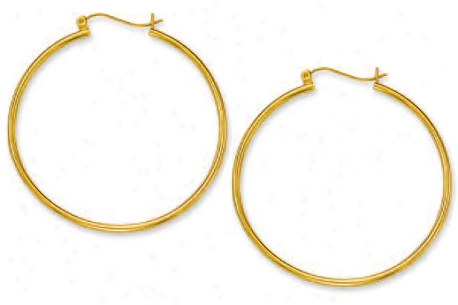 10k Yellow 2 Mm Large Hoop Earrings