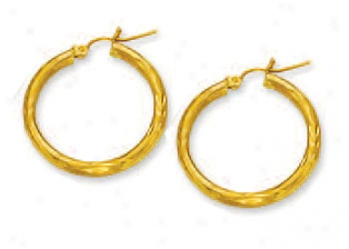 10k Yellow 3 Mm Hoop Earrings
