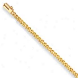 10k Yellow 3 Mm Wheat Design Bracelet - 7 Inch