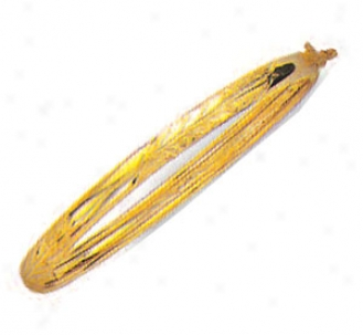 10k Yellow 4 Mm Childrens Diamond-uct Bangle - 5.5 Inch