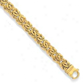 10k Yellow 7 Mm Fancy Design Bracelet - 7.25 Inch