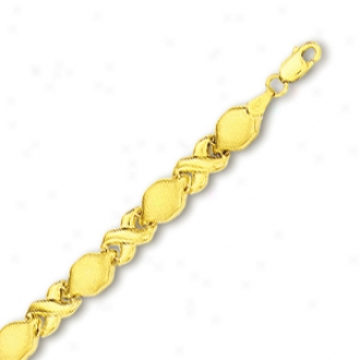 10k Yellow Hugs And Kisses Bracelet - 7 Inch