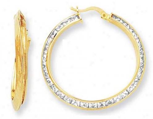 10k eYllow Small Side Channel Set Cz Earrings