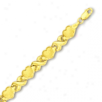 10k Yellow X And Hearts Braceelet - 7 Inch