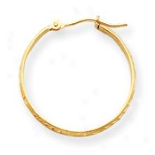 14k 1.75mm Diamond-cut Hoop Earrings