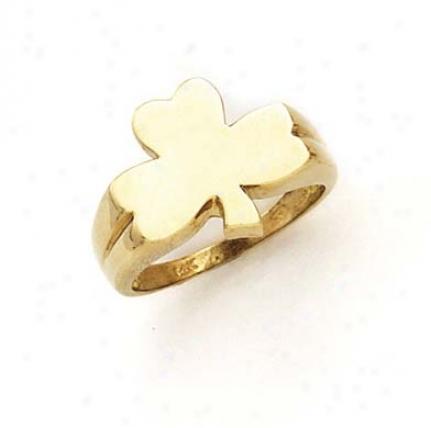 14k 3-leaf Clover Mens Ring