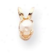 14k 3.5mm Round Cultured Pearl Birthstone Pendant