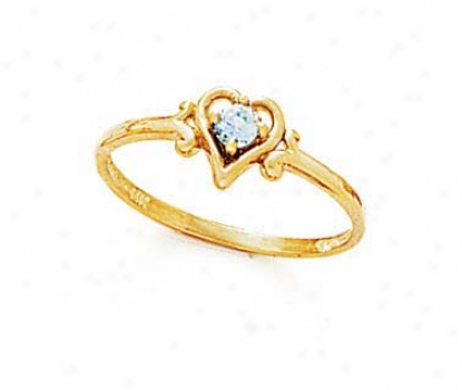 14k 3mm Round Blue Topaz Heart Ring