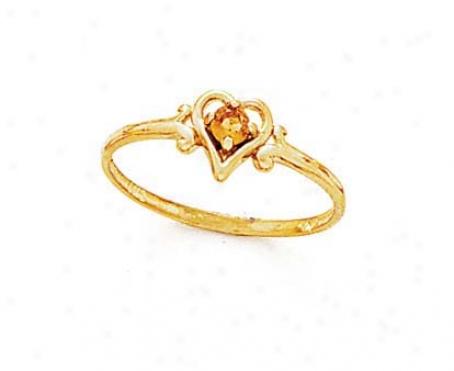 14k 3mm Round Citrine Heart Ring
