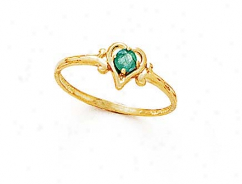 14k 3mm Round Emerald Heart Ring