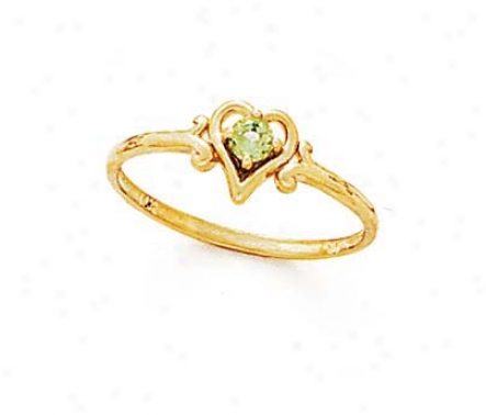 14k 3mm Round Perdiot Heart Ring
