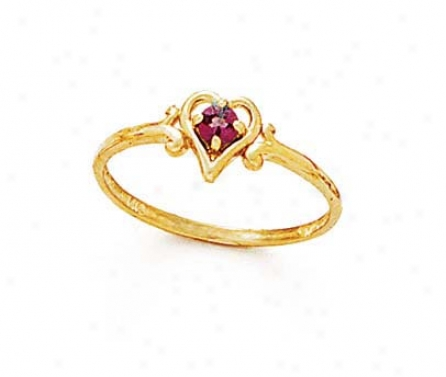 14k 3mm Round Rhodolite Heart Ring
