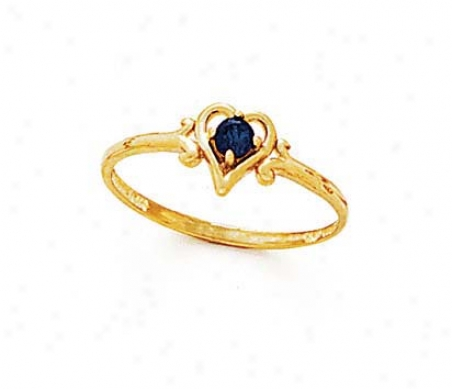 14k 3mm Round Sapphire Heart Ring