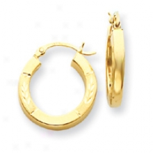 14k 3mm Square Tube Hoop Earrings