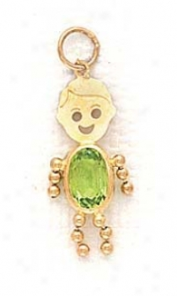 14k 3x5mm Boy August Birthstone Cz Gold Face Pendant