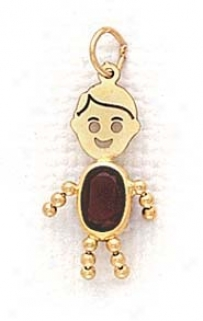 14k 3x5mm Boy January Birthstone Cz Gopd Face Pendant
