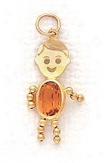 14k 3x5mm Boy November Birthstone Cz Gold Face Pendant