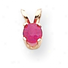 14k 4mm Round Ruby Birthstone Pendant