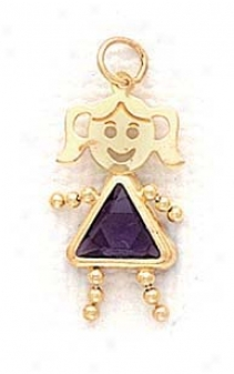 14k 5mm Girl February Birthstone Cz Gold Face Pendant