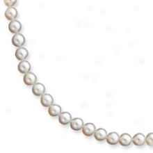 14k 6-6.5mm White Fw Potato Cult. Pearl Bracelet - 7.5 Inch