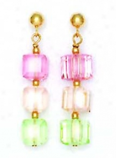 14k 6 Mm Cube Light Pink Cream And Green Crystal Earrings