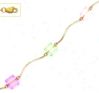 14k 6 Mm Cube Light Pink Green And Clear Crystal Necklace