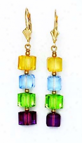 14k 6 Mm Cube Yellow Blue Green And Purple Crystal Earrings