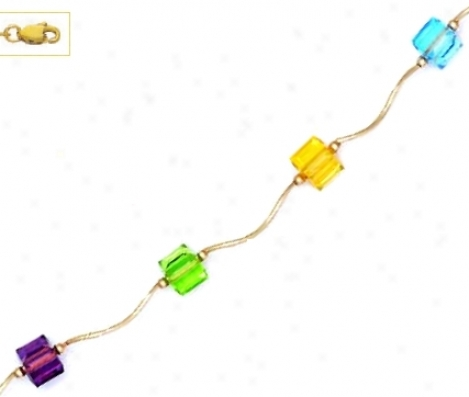 14k 6 Mm Cube Yellow Blue Red And Green Crystal Necklace