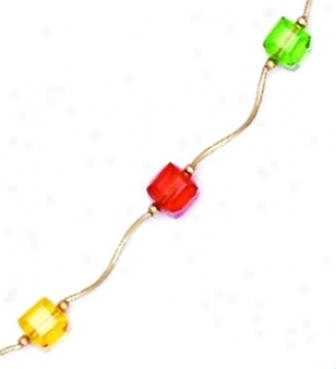 14k 6 Mn Cube Yellow Orange And Green Crystal Necklace - Choi