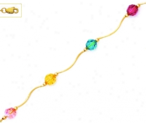 14k 6 Mm Round Light-pink Yellow Blue Pink Crystal Necklace