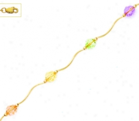 14k 6 Mm Round Peach Cream Green And Puple Crystal Necklace
