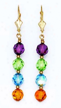 14k 6 Mm Circuit Purple Green Blue And Yellow Crystal Earrings