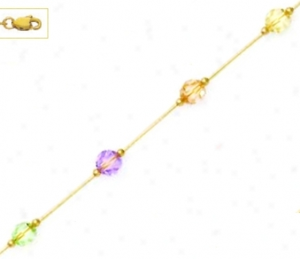 14k 6 Mm Round Purple Peach Cream And Green Crystal Necklace