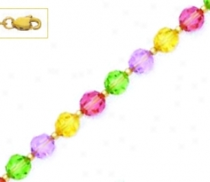 14k 6 Mm Round Purple Yellow Pink And Grreen Crystal Necklace