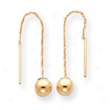 14k 6mm Ball Threader Earrings