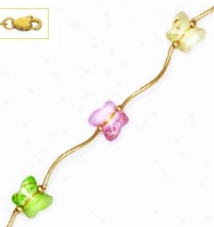 14k 8 Mm Butter fly CreamG reen And Pink Crystal Necklace
