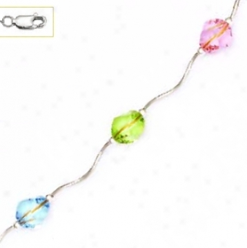 14k 8 Mm Coil Light Blue Green And Scallop Crystal Necklace - C