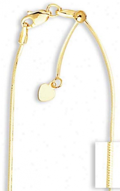 14k .85 Mm Adjustable Octagonal Snake Chain Necklace - 22 In