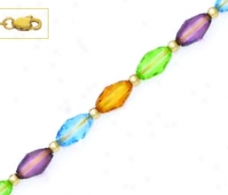 14k 9x6 Mm Barrel Orange Green Purple Blue Crystal Necklace